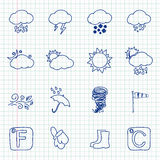 Hand drawn weather icons. On a notebook sheet. Vector Royalty Free Stock Images