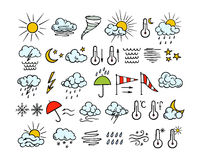 Hand drawn weather icons Stock Photo
