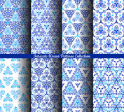 Hand Drawn Weave Blue Patterns Collection. Blue backgrounds. Stylized flower seamless patterns. Square boho design element. Vector illustration. Wallpaper print Stock Image