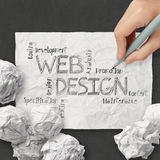 Hand drawn web design diagram on crumpled paper Royalty Free Stock Photos