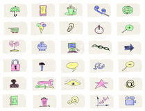 Hand drawn web icons isolated Stock Images