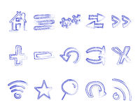 Hand drawn web icons and logo, arrows, internet Stock Photography