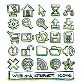 25 hand drawn web and internet icons collection Stock Photography