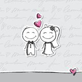 Hand drawn wedding couple Royalty Free Stock Images