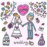 Hand drawn wedding couple Stock Photos