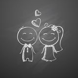 Hand drawn wedding couple Stock Photography
