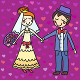 Hand drawn wedding couple and seamless pattern with hearts Stock Photography