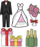 Hand Drawn Wedding vector. Isolated on white background. Tuxedo, wedding dress, bouquet pink roses, champagne, gift box. Hand drawn wedding elements vector stock illustration