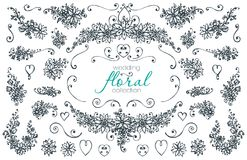 Hand drawn floral wedding and holiday collection. Hand drawn wedding and holiday collection. Black and white vector set of sketched frames with branches Stock Image