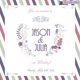 Hand drawn wedding invitation card, boho style Royalty Free Stock Image