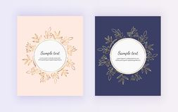 Hand drawn wedding invitation card. Golden lines contour flowers and leaves on the pink and dark blue background. Botanical design. Templates for save the date stock illustration