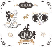 Hand drawn wedding invitation logo templates in nautical style. Vintage vector design elements royalty free illustration