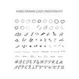 Hand drawn wedding logo creation kit. Floral frames, circles, alphabet vector illustration