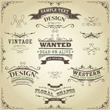 Hand Drawn Western Banners And Ribbons Royalty Free Stock Images