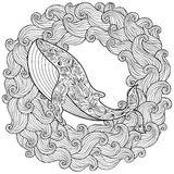 Hand drawn whale in the waves for anti stress Coloring Page Royalty Free Stock Images