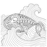 Hand drawn whale in the waves for antistress Coloring Page with Royalty Free Stock Photos