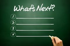 Hand drawn What's Next? blank list concept on blackboard Stock Images