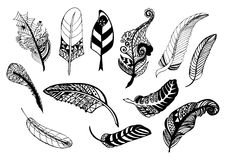 Hand drawn whimsical feather collection. Royalty Free Stock Photography