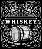 Hand drawn whiskey label with wooden barrel and floral calligraphic elements Royalty Free Stock Image