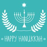 HHand Drawn White David Star Menorah Candle Holder Silhouette on Blue Background. Laurel Wreath. Happy Hanukkah Hand Lettering Royalty Free Stock Images