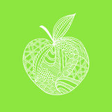 hand drawn white outline apple on green background. Ornament of curve lines. Stock Photography