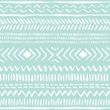 Hand drawn white tribal pattern on mint background vector seamless pattern. Fresh abstract geometric drawing. Hand drawn white tribal lines and stripes Royalty Free Illustration