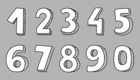 Hand drawn white vector numbers on grey background. Hand drawn white vector numbers isolated on grey background Vector Illustration