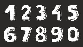 White vector numbers isolated on black background. Hand drawn white vector numbers isolated on black background stock illustration