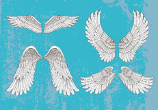Hand drawn white wings Stock Photography