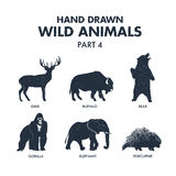 Hand drawn wild animals icons set. Royalty Free Stock Image