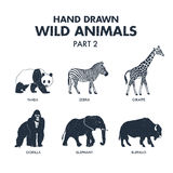 Hand drawn wild animals icons set. Stock Image