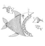 Hand drawn wild fish Royalty Free Stock Photography