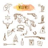 Hand drawn wild west illustartions. Doodles of horse, gun, money bag Stock Image