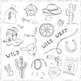 Hand drawn wild west set. Stock Image