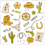 Hand drawn wild west set. Stock Photography