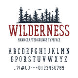 Hand drawn Wilderness font. Latin alphabet vector letters, numbers, and signs. PIne trees vector illustration Royalty Free Stock Images