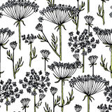 Hand drawn wildflower pattern Royalty Free Stock Photography