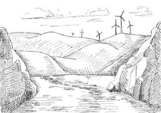 Hand drawn windmills against the background of mountains and water.  Stock Image