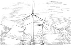 Hand drawn windmills on the background of mountains. Vector illustration of a sketch style.  Stock Photography