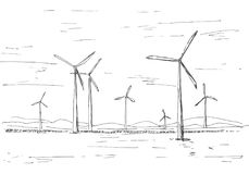 Hand drawn windmills on the background of mountains. Vector illustration of a sketch style.  Royalty Free Stock Photos