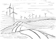 Hand drawn windmills on the background of mountains. Vector illustration of a sketch style.  Royalty Free Stock Images