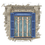 Hand drawn window. Vintage artistic architecture window with blue shutters. Hand drawn blue window. Vintage artistic architecture window with blue shutters Royalty Free Stock Photography