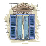 Hand drawn window. Vintage artistic architecture window with blue shutters Royalty Free Stock Photos