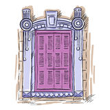 Hand drawn window. Vintage artistic architecture window with pink shutters Royalty Free Stock Image
