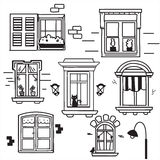 Hand drawn windows. Vector illustration Royalty Free Stock Photos