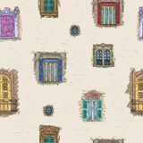 Hand drawn windows pattern background. Vintage artistic architecture wallpaper. Hand drawn windows pattern background. Vintage artistic architecture windows Stock Photography