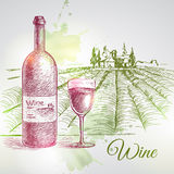 Hand drawn  wine background Stock Photography