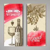 Hand drawn of wine banners Stock Photos