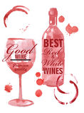 Hand drawn of wine banners Royalty Free Stock Image