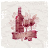 Hand drawn wine bottle & glasses Stock Photos